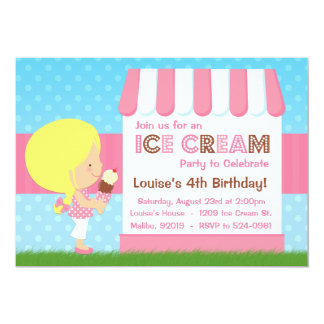Ice Cream Birthday Party Blonde Hair 5x7 Paper Invitation Card
