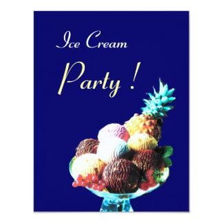 ICE CREAM BIRTHDAY PARTY,blue 4.25x5.5 Paper Invitation Card