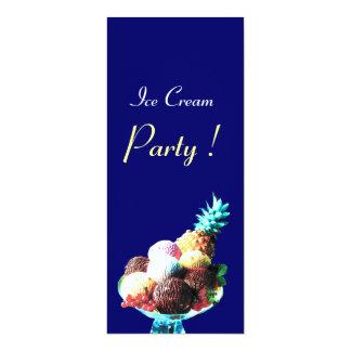 ICE CREAM BIRTHDAY PARTY,blue 4x9.25 Paper Invitation Card