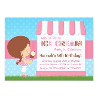 Ice Cream Birthday Party Brown Hair Custom Announcements