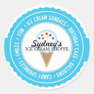 ice cream BIRTHDAY PARTY favor labels BRIGHT Classic Round Sticker
