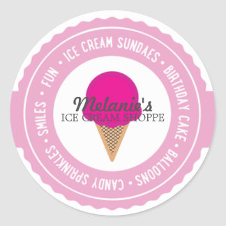 ice cream BIRTHDAY PARTY favor labels HOT PINK Classic Round Sticker