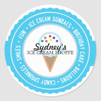 Ice Cream BIRTHDAY PARTY Favor Sticker 4