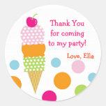 Ice Cream Birthday Party Favor Stickers