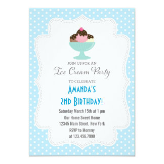 Ice Cream Birthday Party Invitation (Blue)