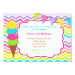 "Ice Cream Birthday Party Invitations 5"" X 7"" Invitation Card"