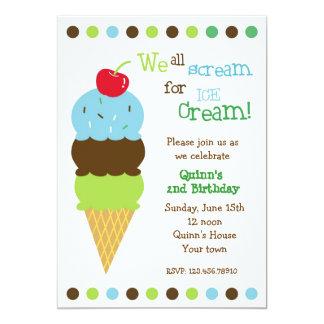 Ice Cream Birthday Party Invitations Boys