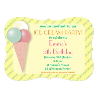 Ice Cream Birthday Party Invitations Bracket Shape