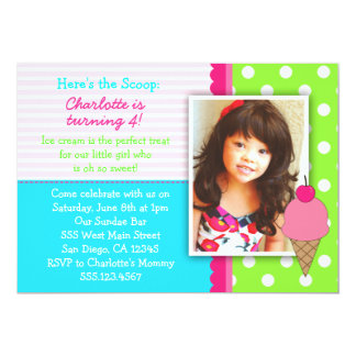 Ice Cream Birthday Party Invitations For Girls