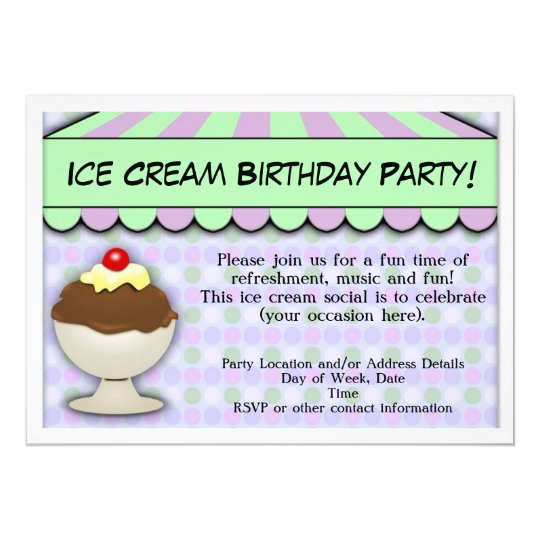 Ice Cream Birthday Party, Pastel Awning Sundae Card