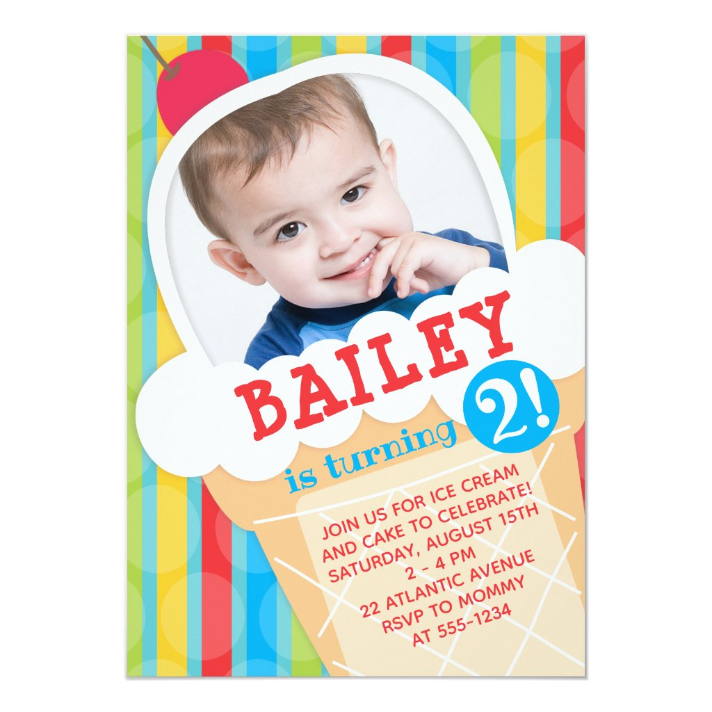 Ice Cream Birthday Party Photo Invitation