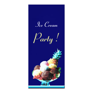 "ICE CREAM BIRTHDAY PARTY red black blue 4"" X 9.25"" Invitation Card"