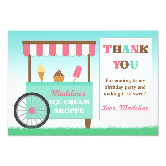 Ice Cream Birthday Party Thank You Card