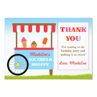 Ice Cream Birthday Party Thank You Personalized Announcements