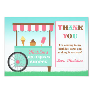 Ice Cream Birthday Party Thank You Personalized Announcement
