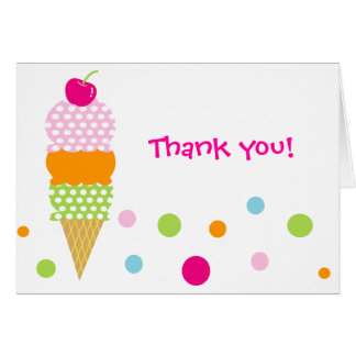 Ice Cream Birthday  Party Thank you note card