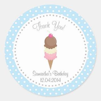 Ice Cream Birthday Thank You Sticker Blue