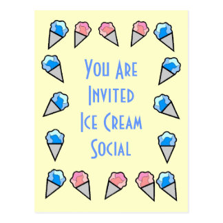 Ice Cream Border Postcards - Customizable