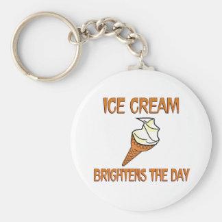 Ice Cream Brightens the Day Basic Round Button Keychain