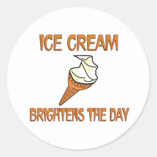 Ice Cream Brightens the Day Classic Round Sticker