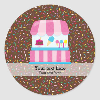 Ice cream business classic round sticker