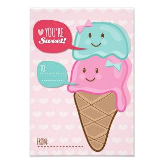 Ice Cream Classroom School Kids Valentine's Day 3.5x5 Paper Invitation Card