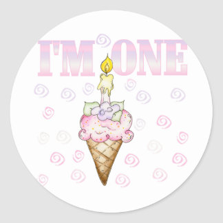 Ice Cream Cone 1st Birthday Tshirts Classic Round Sticker
