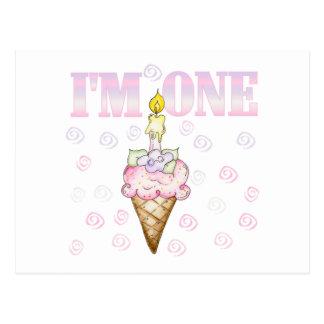 Ice Cream Cone 1st Birthday Tshirts Postcard