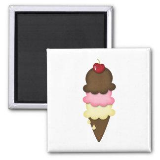 ice cream cone 2 inch square magnet