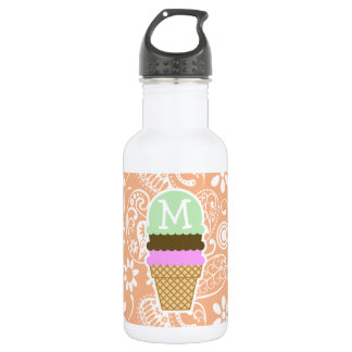 Ice Cream Cone; Apricot Color Paisley; Floral 18oz Water Bottle