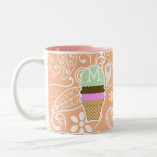 Ice Cream Cone; Apricot Color Paisley; Floral Two-Tone Coffee Mug