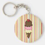 ice cream cone basic round button keychain