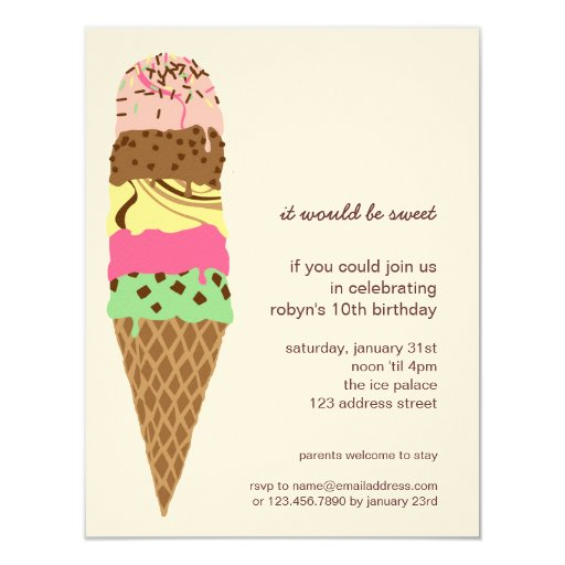 ice cream cone birthday party invitation template