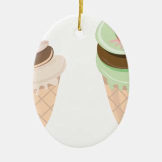 ice cream cone ceramic ornament