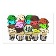 Ice Cream Cone Day Rectangular Stickers