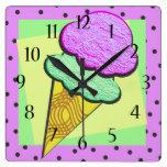 Ice Cream Cone Deco Square Wall Clock