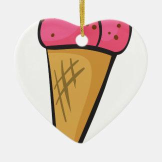ice cream cone Double-Sided heart ceramic christmas ornament