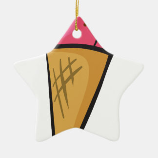 ice cream cone Double-Sided star ceramic christmas ornament