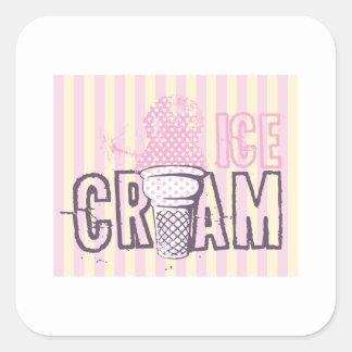 Ice Cream Cone Food Desserts Sweet Snack Love Square Sticker