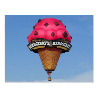 Ice Cream Cone Hot Air Balloon Postcard