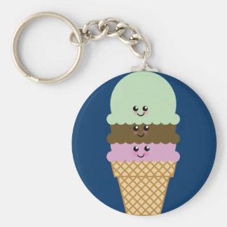 Ice Cream Cone Kawaii Art Basic Round Button Keychain
