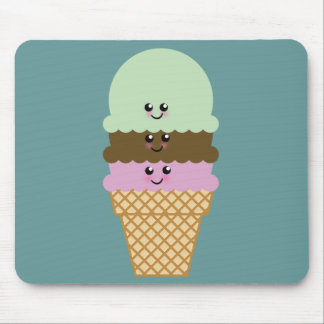 Ice Cream Cone Kawaii Art Mouse Pad