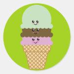 Ice Cream Cone Kawaii Art Sticker