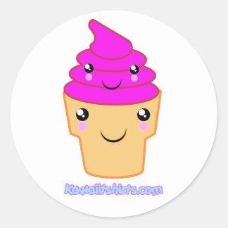 Ice cream & cone Kawaii friends Classic Round Sticker