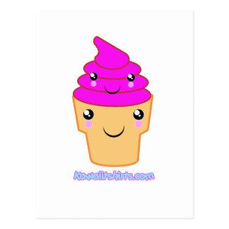 Ice cream & cone Kawaii friends Postcard
