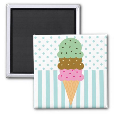 This design features a triple scoop ice cream cone (strawberry,