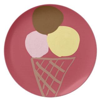 Ice cream cone melamine plate