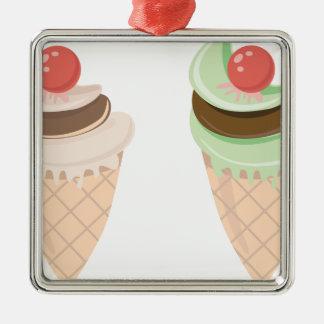ice cream cone metal ornament