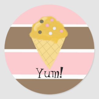 Ice Cream Cone on a Neapolitan Stripe Classic Round Sticker