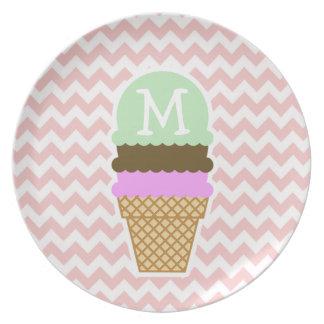 Ice Cream Cone on Baby Pink, Light Pink Chevron Plate